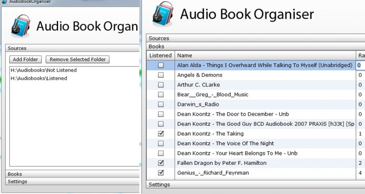 Audio Book Organiser (AIR, Mate, Flex 4)