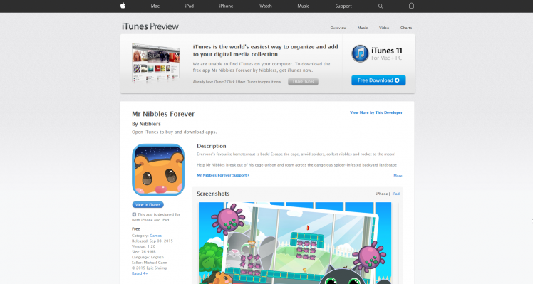 Mr Nibbles Forever – Now on Apple App Store!